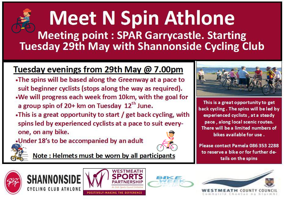 Meet n Spin Athlone - Shannonside Cycling Club - Bike week 2018 D2