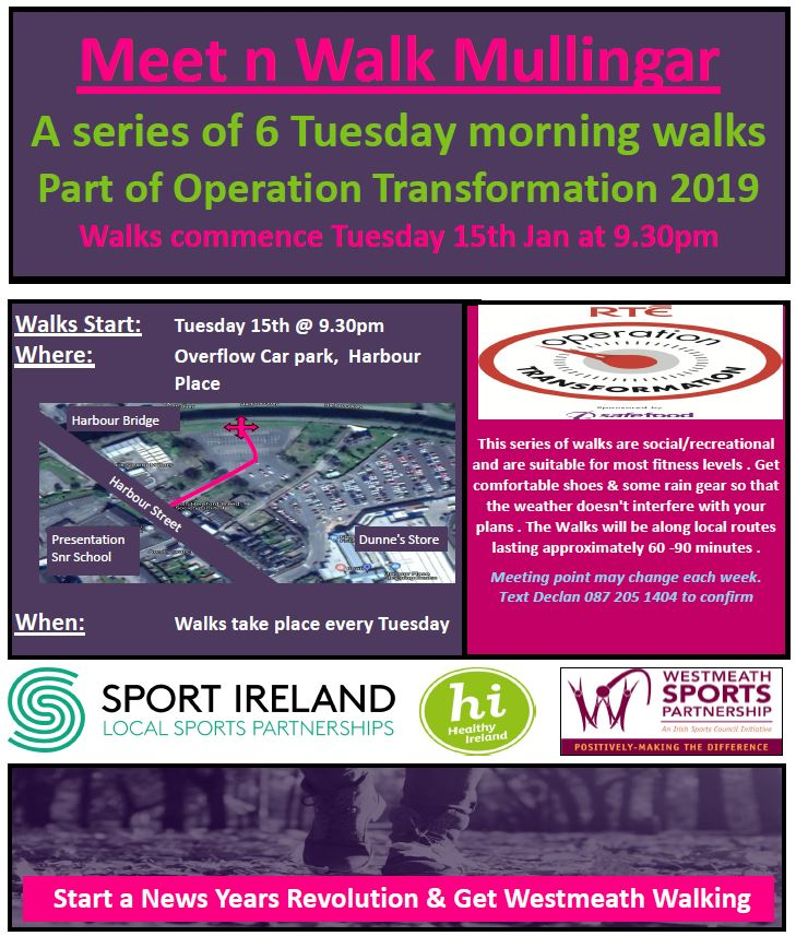 Meet n Walk Mullingar Tuesday Morning OT Walks x 6