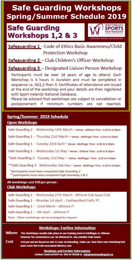SG Workshops - Spring Summer Schedule 2019