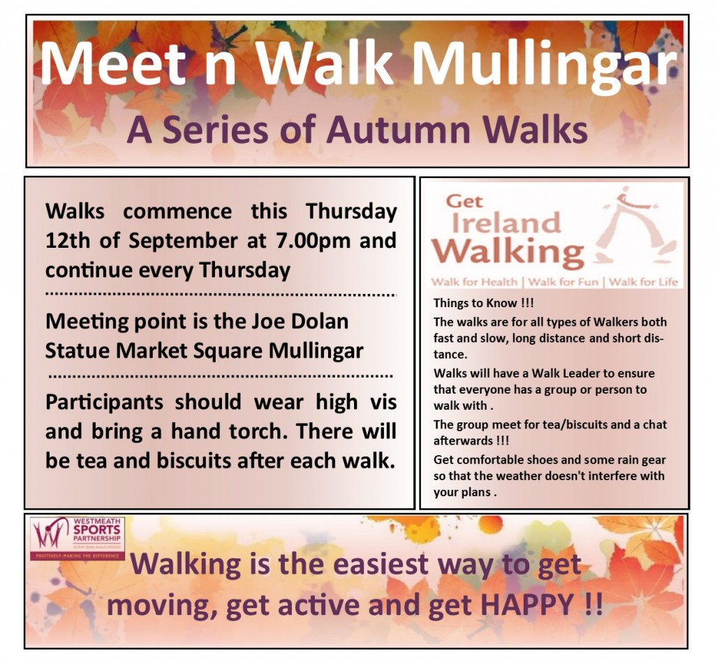 MeetNWalk Mullingar Thursday Evenings Autumn Winter