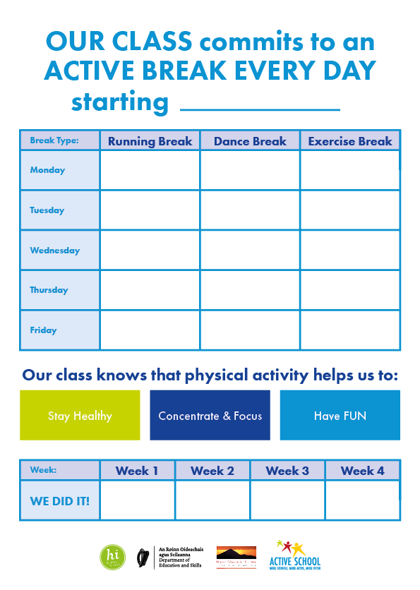 ACTIVE BREAK Every DAY Challenge Chart