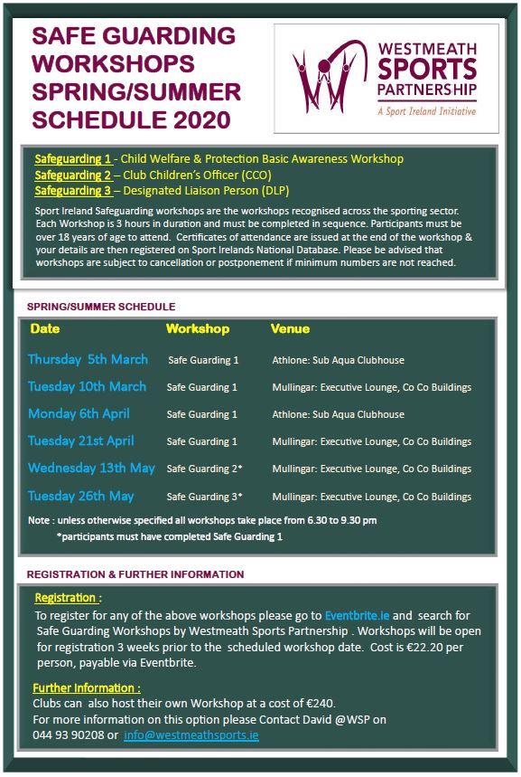 Safe Guarding Workshops - Spring Summer Schedule 2020