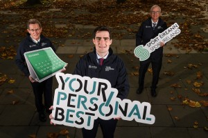 21 October 2020; Minister of State for Gaeltacht Affairs and Sport Jack Chambers TD with Professor Niall Moyna, left, Head of the School of Health and Human Performance at Dublin City University, and Sport Ireland Chief Executive John Treacy in attendance at the launch of Sport Ireland's Your Personal Best, a campaign encouraging men over the age of 45 to get physically active and engage in at least 30 minutes of moderate exercise five days a week. Visit www.sportireland.ie for more details. Photo by Matt Browne/Sportsfile *** NO REPRODUCTION FEE ***